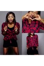 black Mango top - red Zara shirt - black Zara shorts