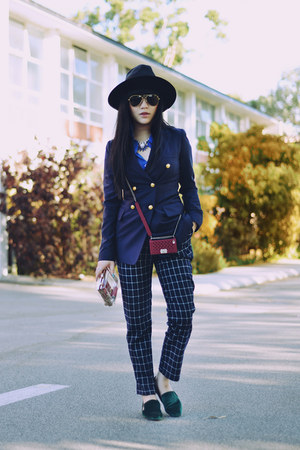 blazer - fedora hat - shirt - bag - loafers