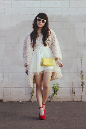 shaggy fur coat coat - bag - kitty cat red wedges