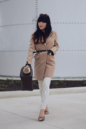 camel wool coat - Louis Vuitton bag