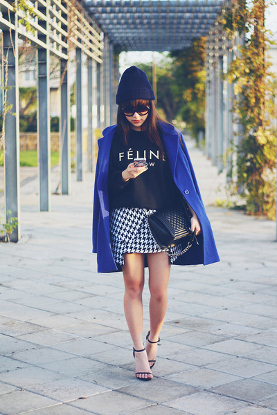 houndstooth skirt - deep blue wool coat - feline meow jumper