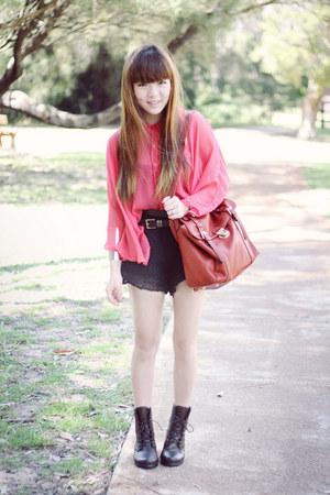blouse - bag - shorts