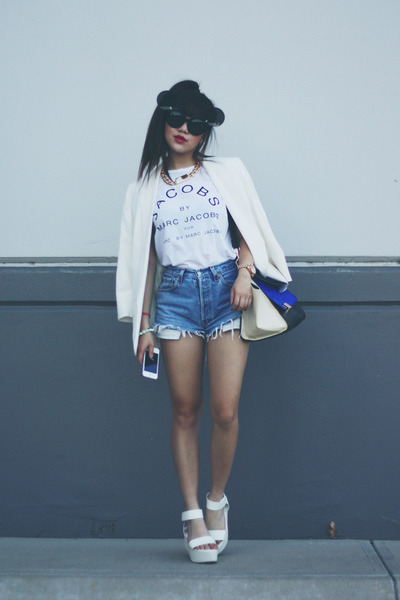 white blazer - Levis shorts