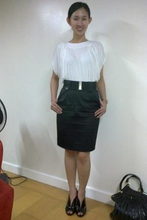 Bazaar shirt - Forever21 skirt - T shoes - CMG purse