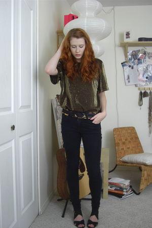 gold vintage top - black vintage scarf - black BDG jeans - black Suzy Shier shoe