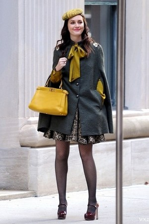 ruby red shoes - dark gray coat - mustard bag