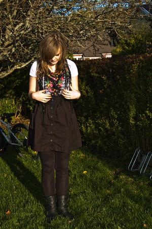 Zara t-shirt - H&M skirt - Wedins shoes - Indiska scarf