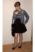 hm t-shirt - hm skirt - hm shoes - second hand jacket