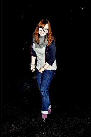 H&M blazer - GINA TRICOT scarf - Dr Denim jeans - cheapo socks - Din Sko shoes -