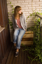 mums old blazer - Lee jeans - Monki t-shirt - hm shoes