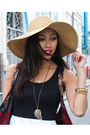 Black-charlotte-russe-dress-tan-nordstrom-hat-black-jessica-simpson-heels