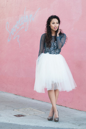 white tutu Alyssa Nicole skirt - blue sheer Urban Outfitters top