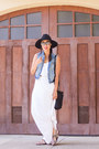 White-maxi-dress-ann-taylor-dress-black-crossbody-kate-spade-bag