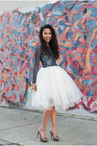 white tulle tutu Alyssa Nicole skirt - blue mesh Urban Outfitters top