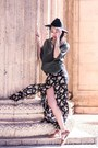 Black-maxi-dress-brandy-melville-dress-black-wool-jigsaw-london-hat