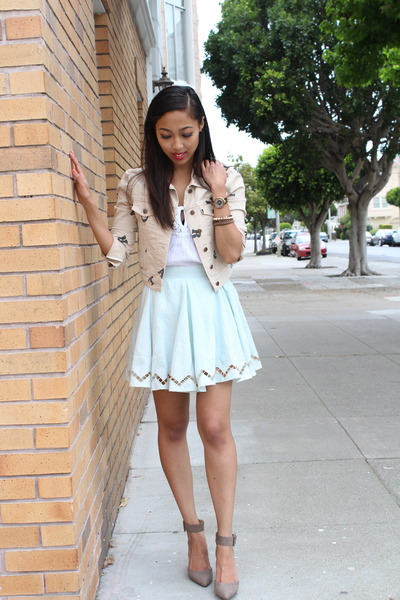 tan BCBGeneration jacket - sky blue lucca couture skirt - silver Zara heels