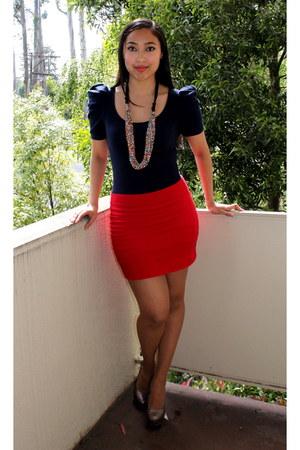 navy Forever 21 dress - Bakers pumps - red Forever 21 skirt - Nordstrom necklace