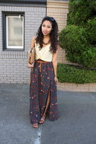 brown maxi skirt Delacy skirt - camel Forever 21 bag - brown Lulus sandals