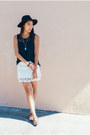 Black-wool-h-m-hat-black-crochet-letote-top-white-crochet-zara-skirt