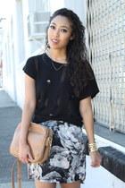 bronze Forever 21 bag - black silk Zara skirt - bronze Jeffrey Campbell wedges