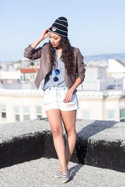 blue slip ons soludos shoes - black beanie Diamond Supply Co hat
