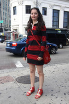 ruby red polo stripped dress - ruby red bag - ruby red leather sandals