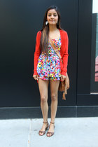 red cardigan - tawny purse - red romper - tawny sandals