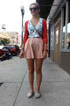 light blue top - hot pink sweater - light pink skirt - flats