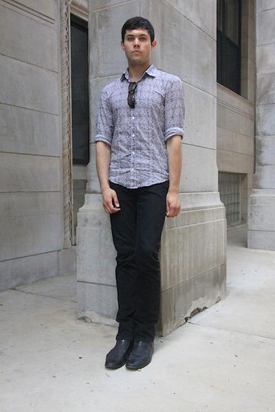 Purple Buttons Up Shirts Black Dress Shoes Shoes Black Pants