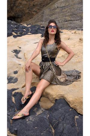 gold golden SH dress - gold clutch DKNY bag - black flip flops Prada flats