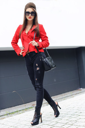 red denny rose jacket - black Zara pants
