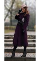 maroon wth belt Solar coat - dark gray ankle boots Belmondo boots