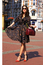 Dark-brown-animal-print-zara-dress-brick-red-tote-coccinelle-bag