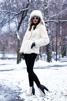 white fur unknown coat - black PERSUNMALL boots - white russian hat unknown hat