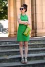 Green-zara-dress-chartreuse-coccinelle-bag-green-foreva-heels