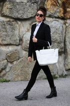 black Zara jacket - off white Cavalli bag