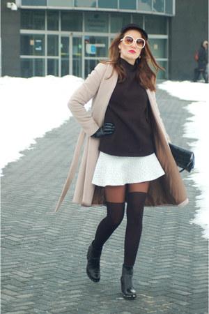 black Zara blazer - tan Sisley coat - neutral asos skirt