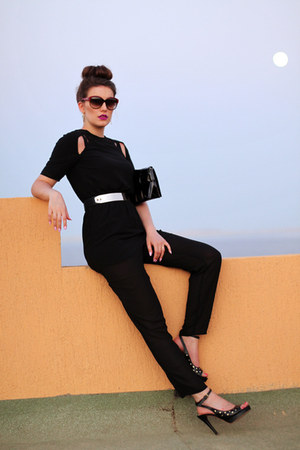 black calvin klein bag - black Moschino pumps - black DressLink bodysuit