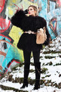 Black-with-zippers-café-noir-boots-dark-brown-alpaca-fur-no-name-coat