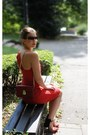 Ruby-red-plissed-river-island-dress-ruby-red-dkny-bag