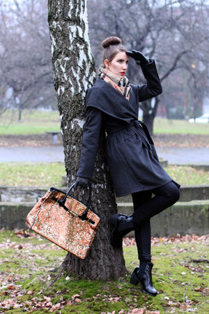 charcoal gray Zara coat - camel Burberry scarf - bronze Moschino bag