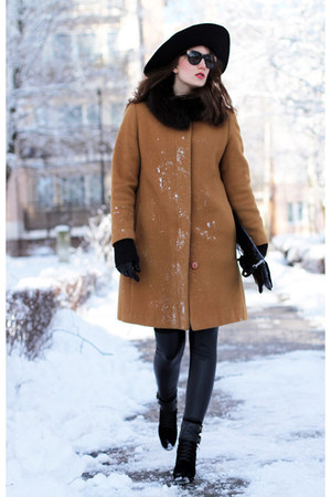 black Sisley hat - bronze Aryton coat - black asos leggings
