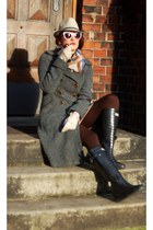 teal tartan H&M coat - black rain boots Wedge Welly boots - gray vintage hat