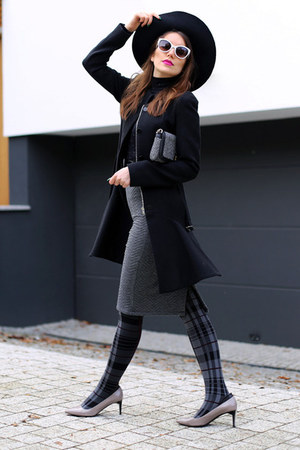 black Zara coat - black H&M top - silver Hugo Boss heels