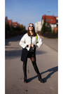 White-geometric-zara-coat-black-with-mesh-persunmall-leggings