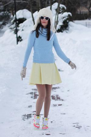 sky blue asos blazer - light yellow versace skirt - white nike sneakers