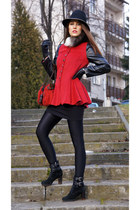 black ankle boots Gianvito Rossi boots - ruby red with basque sammydress coat