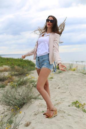 light pink bomber Zara jacket - sky blue sammydress shorts