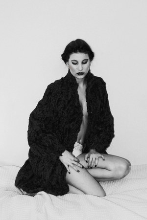fur vintage coat - with lace Victorias Secret panties - with citrin earrings