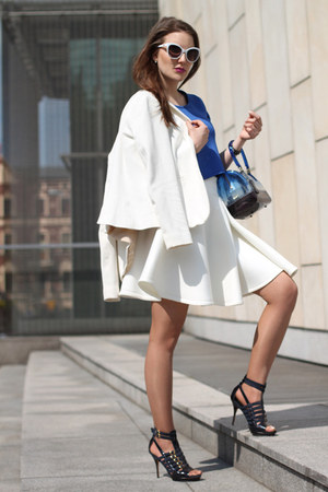 white Massimo Dutti blazer - blue Furla bag - blue asos top - white asos skirt